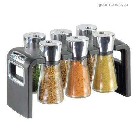 Cole & Mason fűszertartó 6 darab üveggel, fűszerekkel