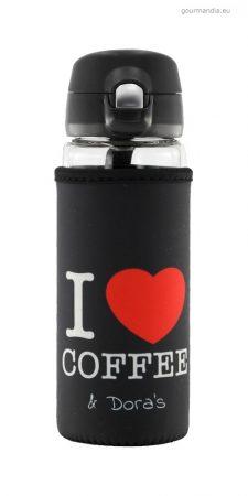 Doras kávés és teás üvegkulacs, neoprén huzattal, egykezes kupakkal