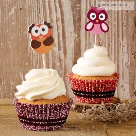 Muffin diszítő készlet - baglyos